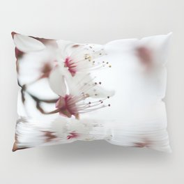white cherry blossom and water reflection Pillow Sham