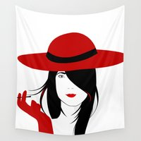 cigarette Wall Tapestries featuring A woman with a cigarette by Design4u Studio