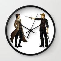destiel Wall Clocks featuring AU: Isla de Vida by SamKatDiz