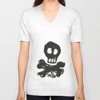 time low V-neck T-shirts featuring All Time Low Skull and Cross Bones by Kelsey