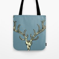 antlers Tote Bags featuring Antlers by Rachel Russell