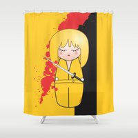tarantino Shower Curtains featuring Kokeshi Beatrix of Kill Bill by Pendientera