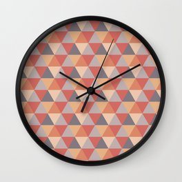 Orange and Grey Geometric Triangles Wall Clock