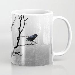 Black Crow in Foggy Forest A118 Coffee Mug
