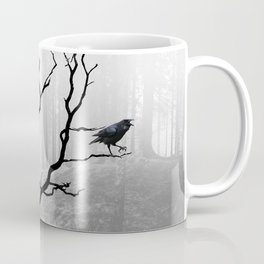Black Crow in Foggy Forest A118 Coffee Mug