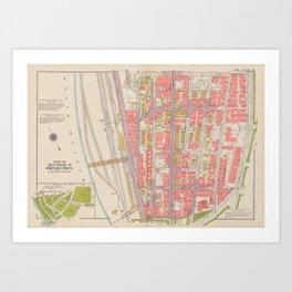 Borough of the Bronx Vintage Map 1 Art Print