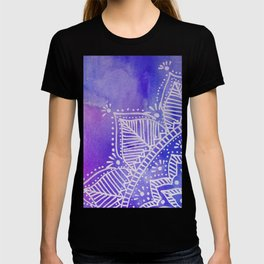 Mandala flower on watercolor background - purple and blue T-shirt