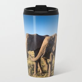 Two happy elephants walking together in African Savannah at sunset Travel Mug