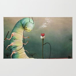 fairy tale story Wonderland with caterpillar and hookah Rug