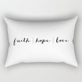 FAITH HOPE LOVE - B & W Rectangular Pillow