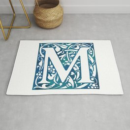 Letter M Antique Floral Letterpress Rug