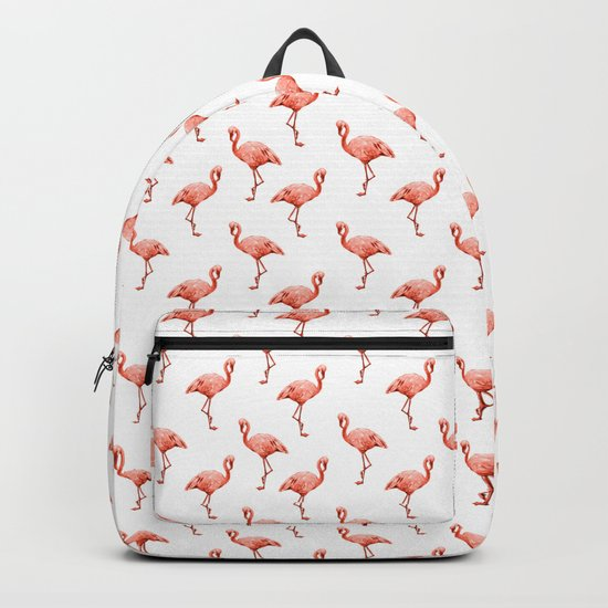 Simply Pink Flamingo in Deep Coral on White Backpack