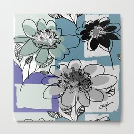 flowerpatch blue Metal Print