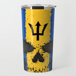 Flag of Barbados on a Chaotic Splatter Skull Travel Mug