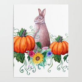 Rabbit, pumpkins , sunflowers in watercolor Poster