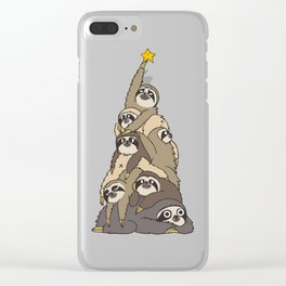 Christmas Tree  Sloths Clear iPhone Case