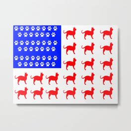 Cat and Paw Flag Metal Print