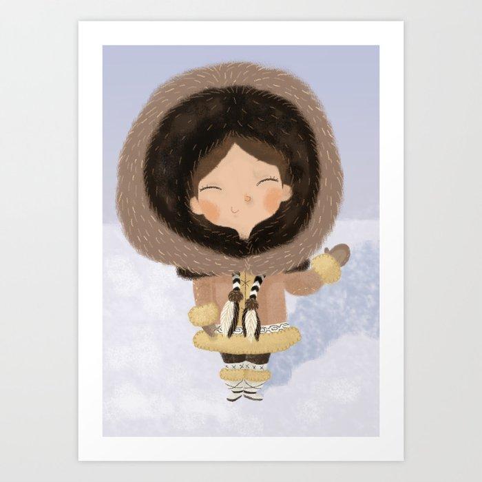 Cute eskimo Art Print
