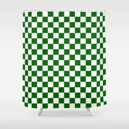 Small Checkered - White and Dark Green Shower Curtain