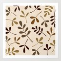 Assorted Leaf Silhouettes Gold Browns Cream by nataliepaskell