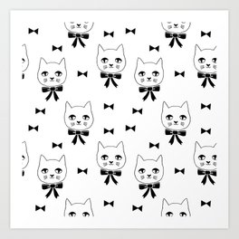 Cute Cats bow ties black and white kittens cat art pattern design by andrea lauren Art Print