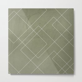 Overlapping Diamond Lines on Sage Green  Metal Print