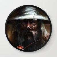 gandalf Wall Clocks featuring Gandalf the Grey by Fabio Leone