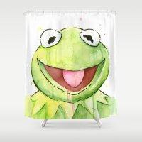 kermit Shower Curtains featuring Kermit Portrait by Olechka