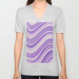 Wavy Purple Stripes Unisex V-Neck