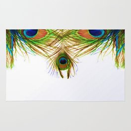 GORGEOUS BLUE-GREEN PEACOCK FEATHERS ART Rug