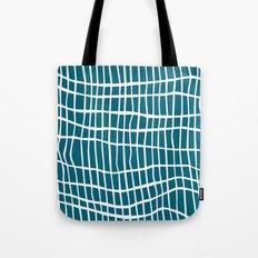 Net White on Blue Tote Bag