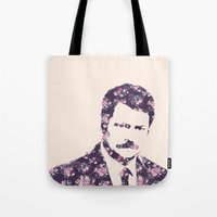 ron swanson Tote Bags featuring Ron Swanson by MisfitKismet Designs