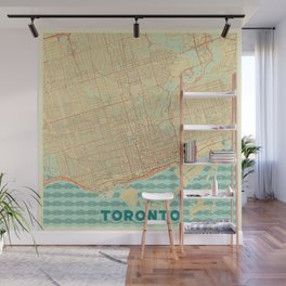Toronto Map Retro Wall Mural
