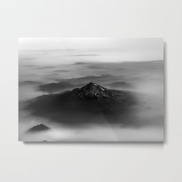 The West is Burning - Mt Shasta Black and White Metal Print