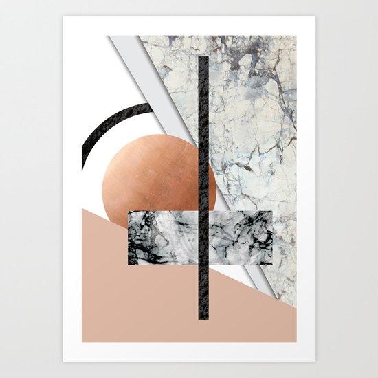 Collage II ( marble, copper, volcanic rock) Art Print
