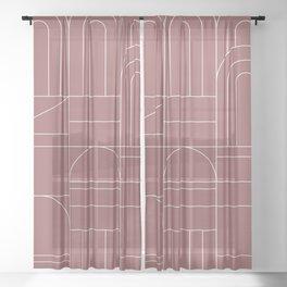 Deco Geometric 04 Dark Pink Sheer Curtain