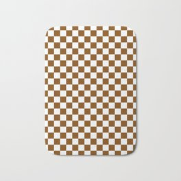 White and Chocolate Brown Checkerboard Bath Mat