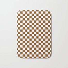White and Chocolate Brown Checkerboard Bath Mat