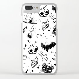 Bats, Cats and Skuls, Oh My! (B/W) Clear iPhone Case