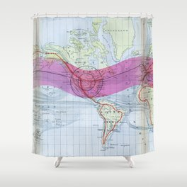 1873 Gilpin Map of the World Shower Curtain
