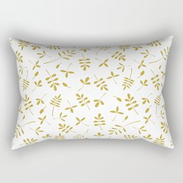 Gold Leaves Design on White Rectangular Pillow
