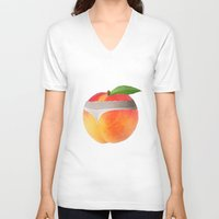 booty V-neck T-shirts featuring Peach booty by Jecca All