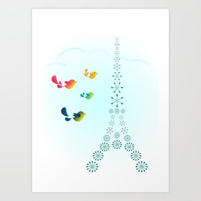 Bird Travellers - Paris Art Print