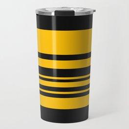 Yellow stripes on black Travel Mug