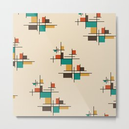 Mid Century Modern Geometric Colorful Metal Print
