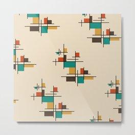 Mid Century Modern Geometric Colorful Metal Print