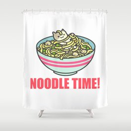 I Love Noodle Kawaii Artwork Shower Curtain
