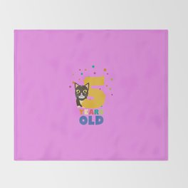 Five Years fifth Birthday Party Cat T-Shirt D3mib Throw Blanket