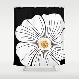 Black and White Blossom Shower Curtain