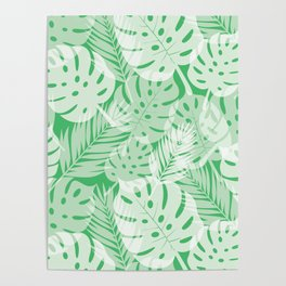 Tropical Shadows - Vibrant Green / White Poster